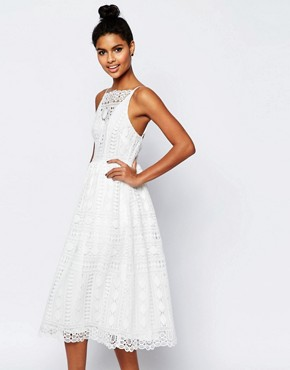 photo Occasion Midi Dress in Geo Lace by ASOS PREMIUM, color White - Image 1