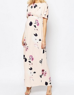 1929e55b8c8a8 photo Angel Sleeve Maxi with Lace Inserts in Spaced Floral Print by ASOS  Maternity, color
