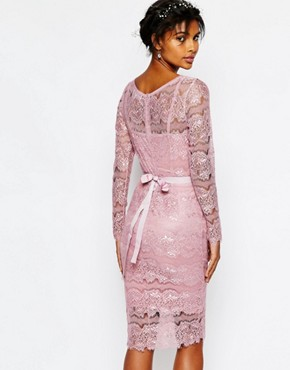photo Wedding Primrose Embellished Waist Dress by Body Frock, color Smoked Rose - Image 2