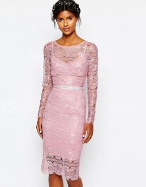 photo Wedding Primrose Embellished Waist Dress by Body Frock, color Smoked Rose - Image 1