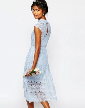 photo Wedding Peony Blue Lace Dress by Body Frock, color Cashmere Blue - Image 2