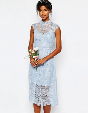 photo Wedding Peony Blue Lace Dress by Body Frock, color Cashmere Blue - Image 1