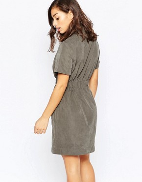photo Belted Concealed Button Shirt Dress by Vero Moda Petite, color Beluga - Image 2