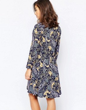 photo Paisley Printed Skater Dress by Vero Moda Petite, color Black Iris - Image 2