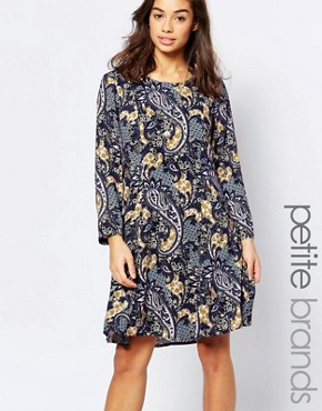 photo Paisley Printed Skater Dress by Vero Moda Petite, color Black Iris - Image 1
