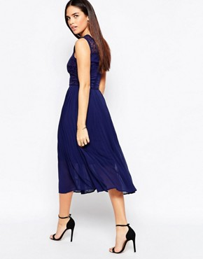 photo Lace Insert Midi Dress by Warehouse Premium, color Navy - Image 2
