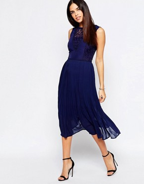 photo Lace Insert Midi Dress by Warehouse Premium, color Navy - Image 1