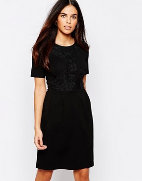 photo Lace Panel Shift Dress by Warehouse, color Black - Image 1