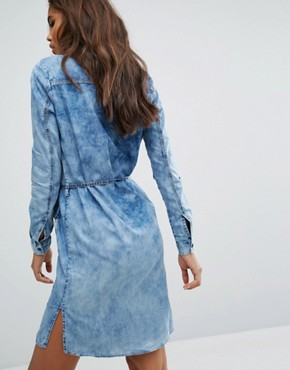 photo Long Sleeve Shirt Dress by Noisy May Tall, color Blue - Image 2