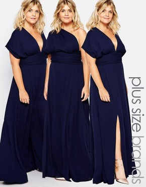 photo Ainsley Multiway Dress by Fame and Partners Plus, color Navy - Image 1