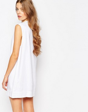 photo Ditte High Neck Denim Dress by Waven, color White - Image 2