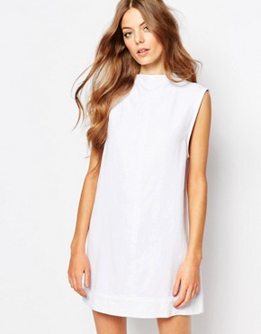 photo Ditte High Neck Denim Dress by Waven, color White - Image 1