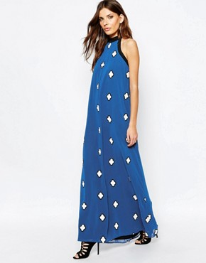 photo Halter Maxi Dress with Embroidery by BCBGeneration, color Electric Blue Combo - Image 1