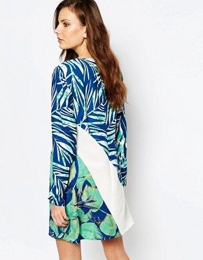 photo Tilli Printed A-Line Dress by BCBG Max Azria, color Classic Blue Combo - Image 2