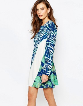 photo Tilli Printed A-Line Dress by BCBG Max Azria, color Classic Blue Combo - Image 1