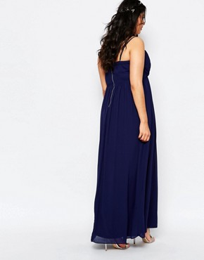 photo Bandeau Chiffon Maxi Dress by TFNC Plus WEDDING, color Navy - Image 2
