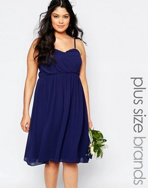 photo Bandeau Chiffon Midi Dress by TFNC Plus WEDDING, color Navy - Image 1