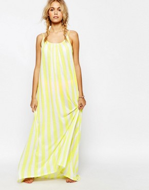 photo Stripe Beach Maxi Dress by Wildfox, color Yellow Daisy - Image 1