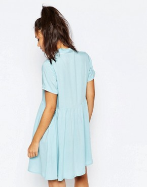 photo Button Front Shirt Dress with Retro Bird Print by Lazy Oaf, color Blue - Image 2