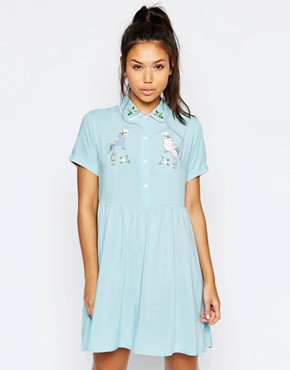 photo Button Front Shirt Dress with Retro Bird Print by Lazy Oaf, color Blue - Image 1