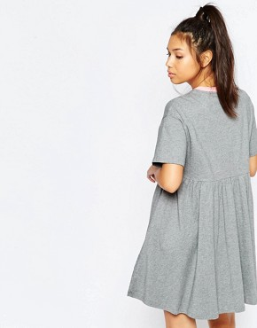 photo Jersey Retro T-Shirt Dress with Puppy Icon by Lazy Oaf, color Grey - Image 2