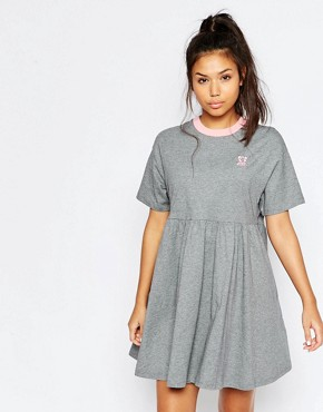 photo Jersey Retro T-Shirt Dress with Puppy Icon by Lazy Oaf, color Grey - Image 1