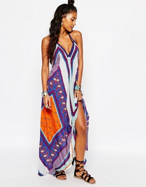 photo Print Scarf Beach Maxi Dress by Surf Gypsy, color Multi - Image 1