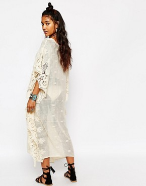 photo Crochet Oversized Maxi Beach Maxi Dress by Surf Gypsy, color Ivory - Image 2