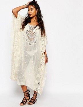 photo Crochet Oversized Maxi Beach Maxi Dress by Surf Gypsy, color Ivory - Image 1