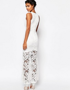 photo Dramatic Lace Maxi Dress by WYLDR, color White - Image 2