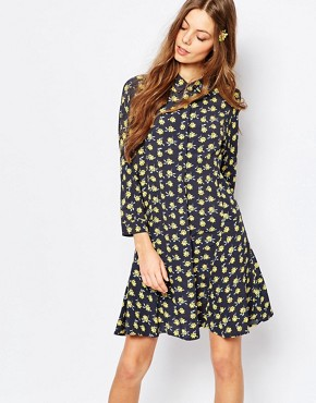 photo Rosary Floral Print Swing Dress in Printed Crepe by Paul & Joe Sister, color Blue - Image 1
