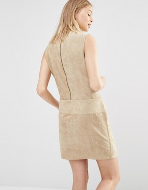 photo Faux Suede Drop Waist Mini Dress by Shades of Grey, color Camel Suede - Image 2