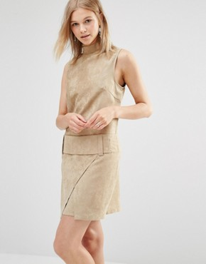 photo Faux Suede Drop Waist Mini Dress by Shades of Grey, color Camel Suede - Image 1