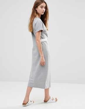 photo Belted Striped Midi Dress by Shades of Grey, color Grey/White Stripe - Image 2