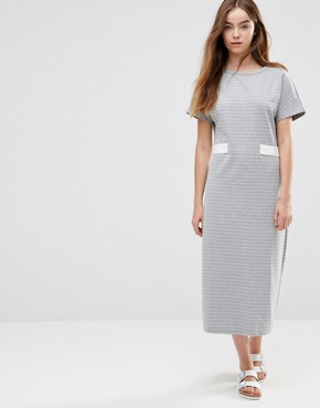 photo Belted Striped Midi Dress by Shades of Grey, color Grey/White Stripe - Image 1