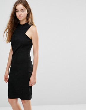 photo Racer Front Knit Dress by Shades of Grey, color Black - Image 1