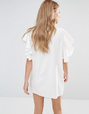photo Bogo Embroidered Dress with Ruffle Sleeves by Piper, color White - Image 2