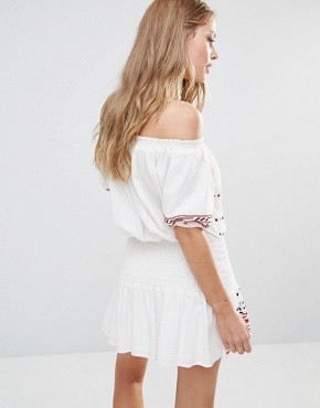 photo Butuan Off Shoulder Mini Dress in Ecru by Piper, color White - Image 2