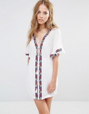 photo Xico Tunic Dress with Embroidered Trim by Piper, color White - Image 1