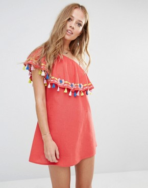 photo Java One Shoulder Ruffle Dress with Tassels by Piper, color Coral - Image 1