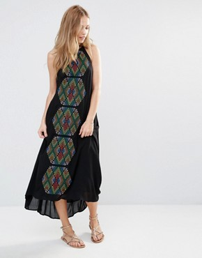 photo Bima Embroidered Maxi Dress by Piper, color Black - Image 1
