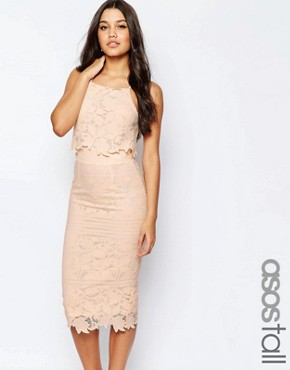 photo Lace Floral Scallop Midi Dress by ASOS TALL, color Nude - Image 1