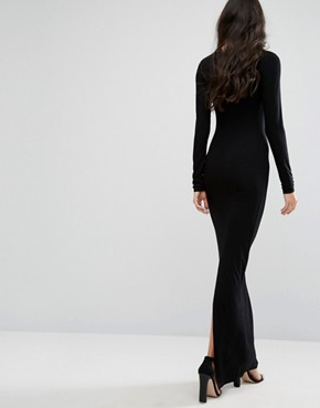 photo Long Sleeve Maxi Dress with Back Split by TTYA, color Black - Image 2