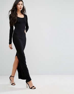 photo Long Sleeve Maxi Dress with Back Split by TTYA, color Black - Image 1