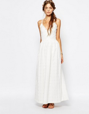 photo Cutwork Ballet Front Maxi Dress in White by Paul & Joe Sister, color White - Image 1