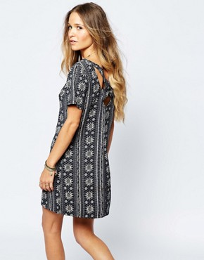 photo Border Print Mini Dress with Cross Back by Hollister, color Grey Stripe - Image 1