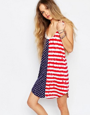 photo Drop Back Vest Dress in American Dots & Stripes by Vans, color Multi - Image 1