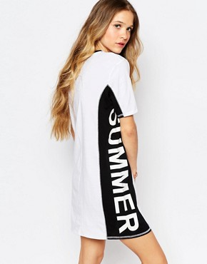 photo Summer Nummer Zip Front T-Shirt Dress by Vans, color White - Image 2