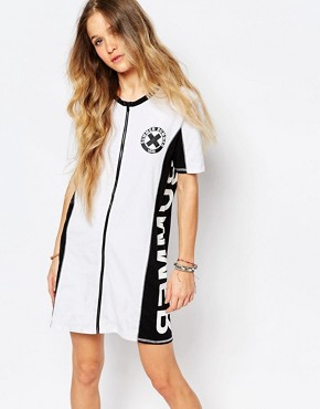 photo Summer Nummer Zip Front T-Shirt Dress by Vans, color White - Image 1