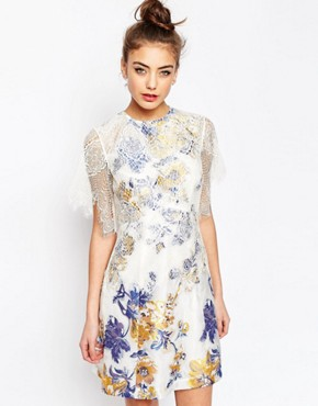 photo A-Line Dress with Jacquard and Lace Detail by ASOS, color Multi - Image 1